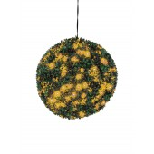 Buxus bal met oranje LED's, 40cm